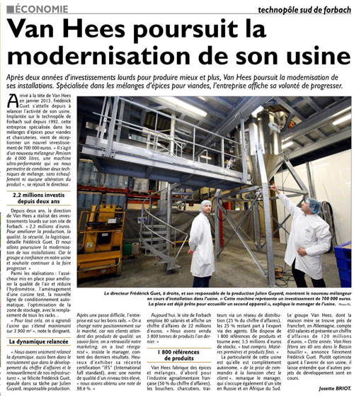 Van Hees poursuit la modernisation de son usine